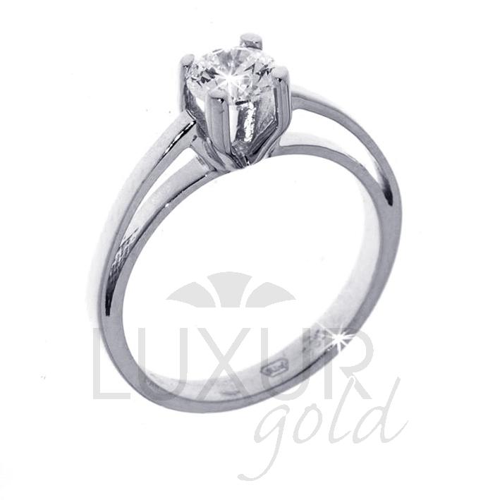 Zlatý zásnubní prsten bílé zlato se zirkonem 1261011-0-51-1