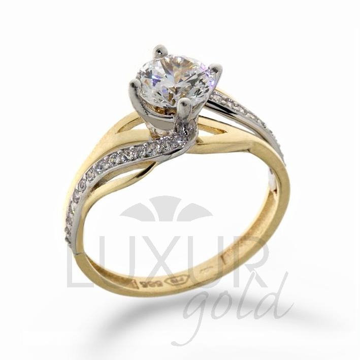 Luxusni Mohutny Zasnubni Zlaty Prsten V Kombinaci Zlata 1211107 5 56