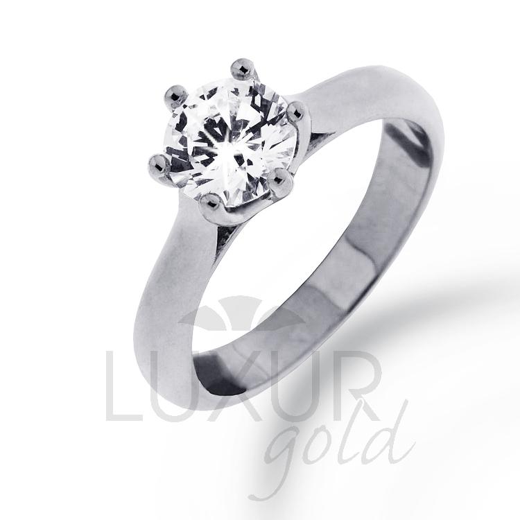 Zásnubní diamantový prsten LOVE, briliant jeden karát, GEMS, 4361000 (40610000)