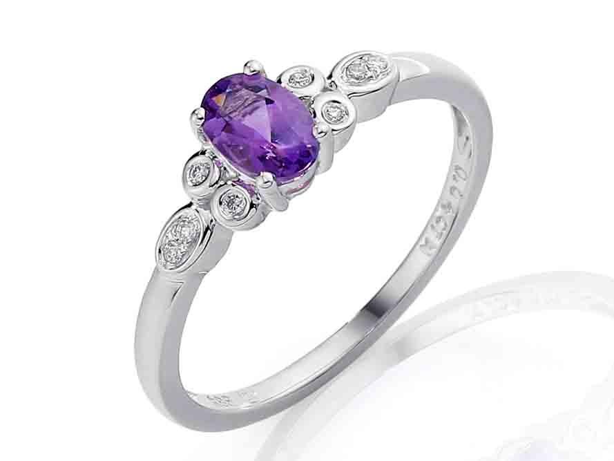 Prsten s diamantem, bílé zlato briliant, ametyst fialový (možno i jako zásnubní (3861586-0-56-95)