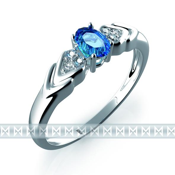 Prsten s diamantem, bílé zlato briliant, modrý topaz (blue topaz) (3860448-0-52-93)