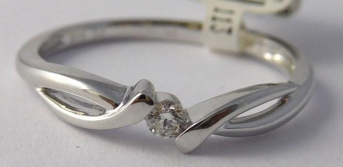 Zásnubní prsten s diamantem, bílé zlato 585/1,85gr vel. 56 3860703 SKLADEM