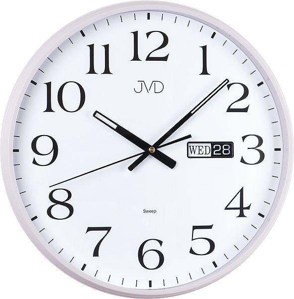 Netikající tiché nástěnné hodiny JVD sweep HP671.1 s datumovkou