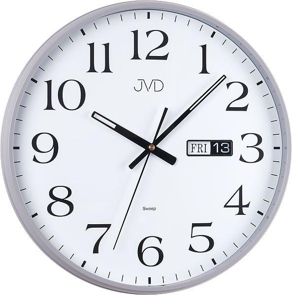 Netikající tiché šedé nástěnné hodiny JVD sweep HP671.2 s datumovkou