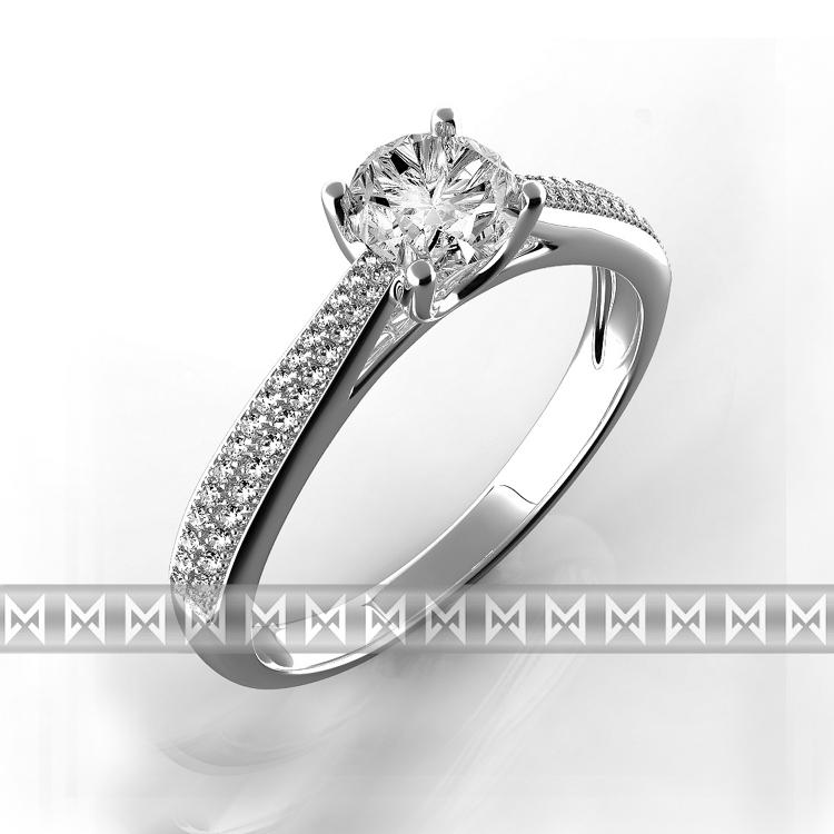 Luxusní zásnubní prsten s diamanty Adriana, bílé zlato 3860603 - vel. 54 (3860603-0-54-99)