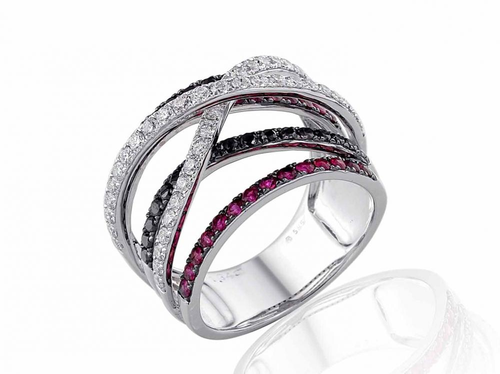 Luxusní mohutný prsten z bílého zlata s rubíny a diamanty vel. 56 3861497-0-56-9 (3861497-0-56-94)