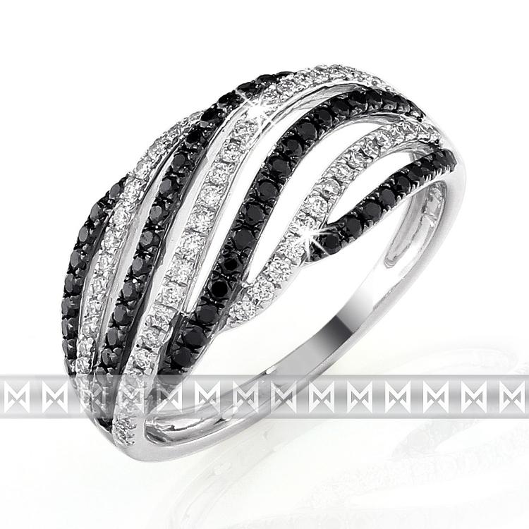 Luxusní diamantový zlatý prsten s černými a čirými diamanty vel.54 NOVINKA 2013