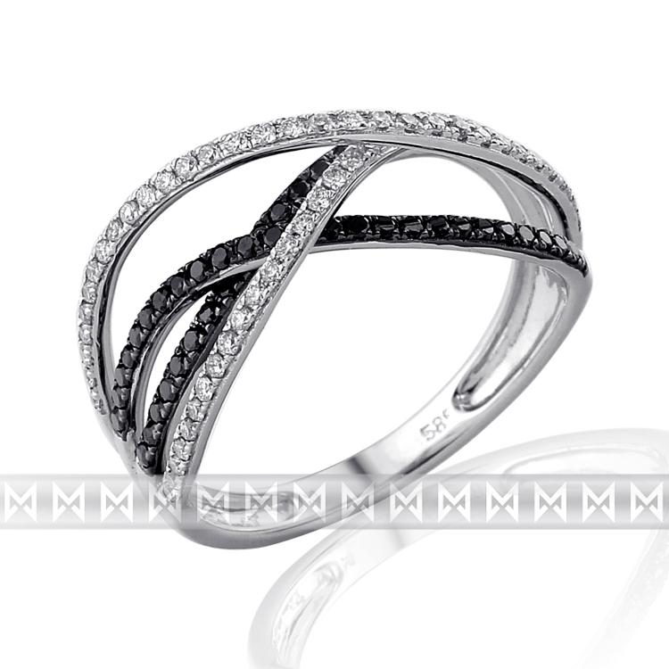 Luxusní diamantový zlatý prsten posetý černými diamanty (109 ks) vel. 55 (3861486-0-55-97)