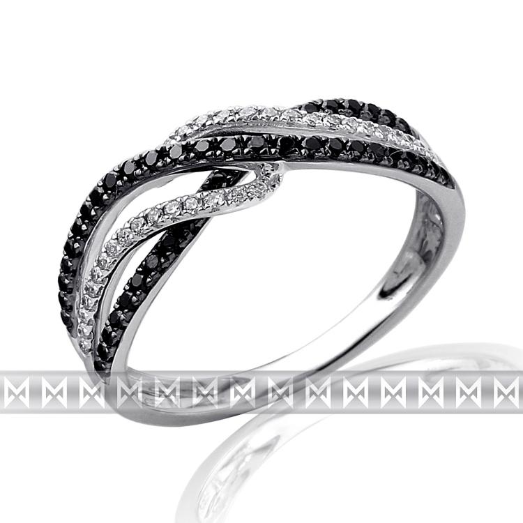 Luxusní mohutný zlatý diamantový prsten s černými diamanty (78 ks) ve. 54 (3861471-0-54-97)