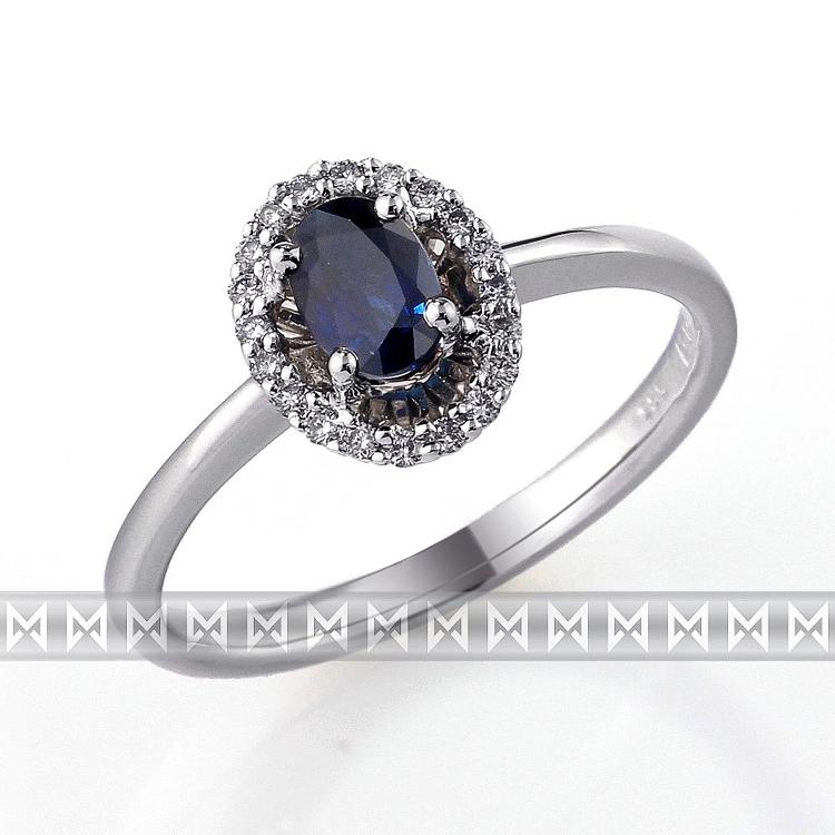 Luxusní diamantový zlatý prsten s velkým modrým safírem (KATE) vel. 55 ( 3860523-0-55-92)