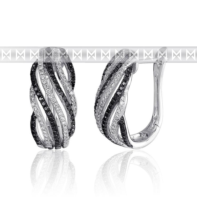 Diamantové náušnice, bílé zlato briliant, černý briliant 3880698-0-0-97 (3880698-0-0-97)
