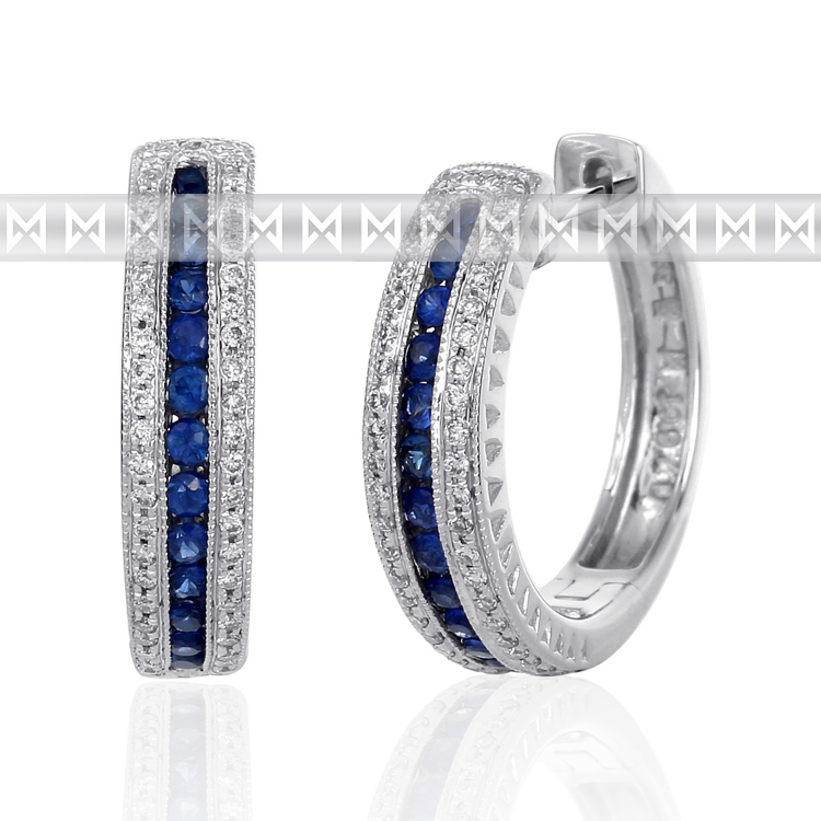 Diamantové náušnice, bílé zlato briliant, safír - kruhy osazené diamanty (3880527-0-0-92)