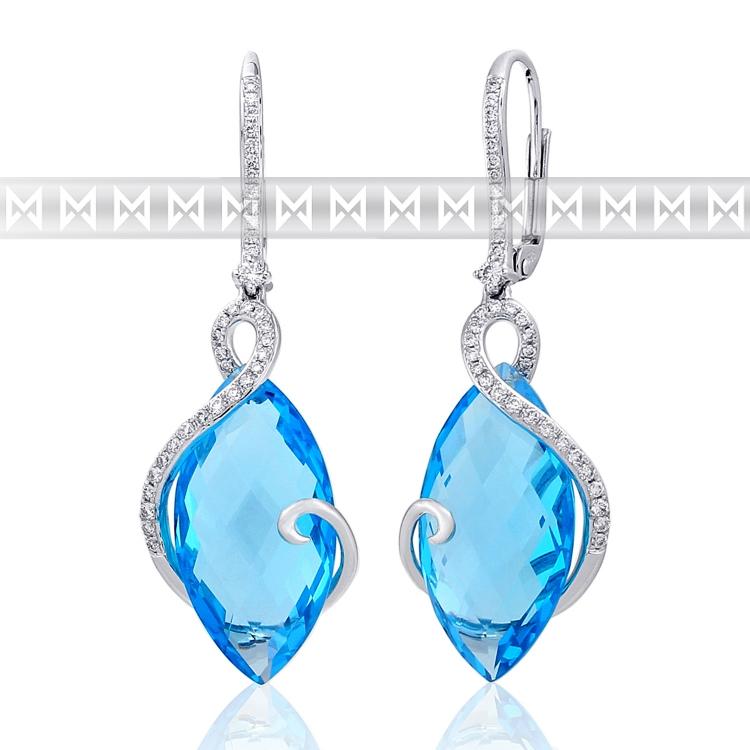 Diamantové náušnice, bílé zlato briliant, modrý topaz (blue topaz) 585/2,85 gr (3880830-0-0-93)