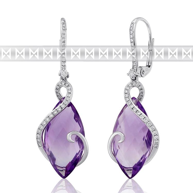 Diamantové náušnice, bílé zlato briliant, ametyst fialový - visací náušnice 3880832