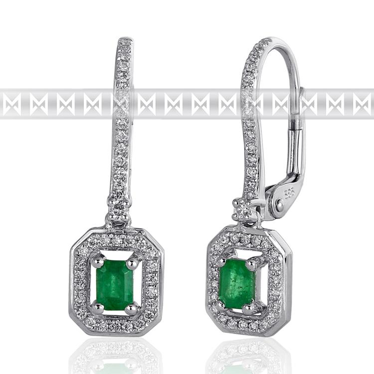 Diamantové náušnice, bílé zlato briliant, smaragd (emerald) a diamanty (3880856-0-0-96)