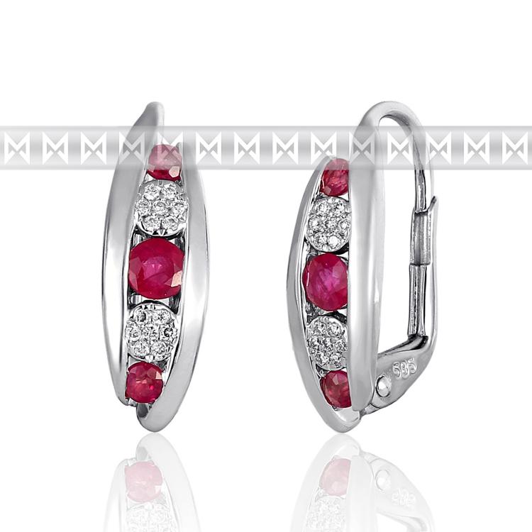 Diamantové náušnice, bílé zlato briliant, rubín 3881038-0-0-94 (3881038-0-0-94)