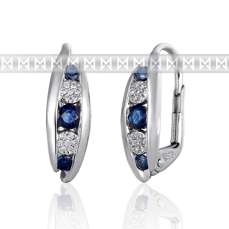 Diamantové náušnice, bílé zlato briliant, safírové náušnice 3881042-0-0-92 (3881042-0-0-92)