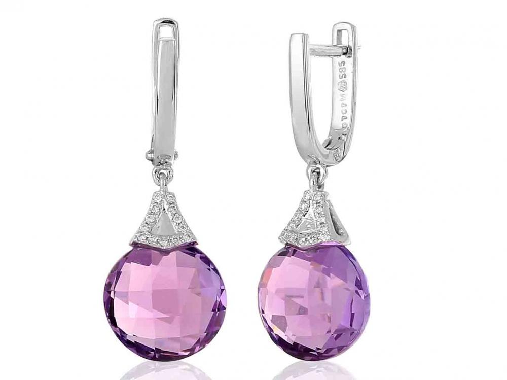 Diamantové náušnice, bílé zlato briliant, ametyst fialový 3880359-0-0-95 (3880359-0-0-95)