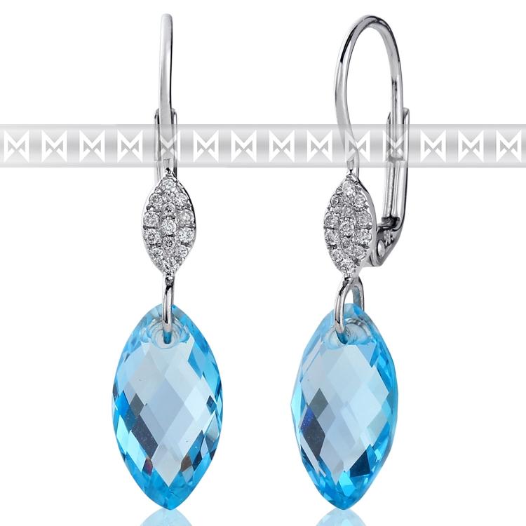 Diamantové náušnice, bílé zlato briliant, modrý topaz (blue topaz) 3880367-0-0- (3880367-0-0-93)