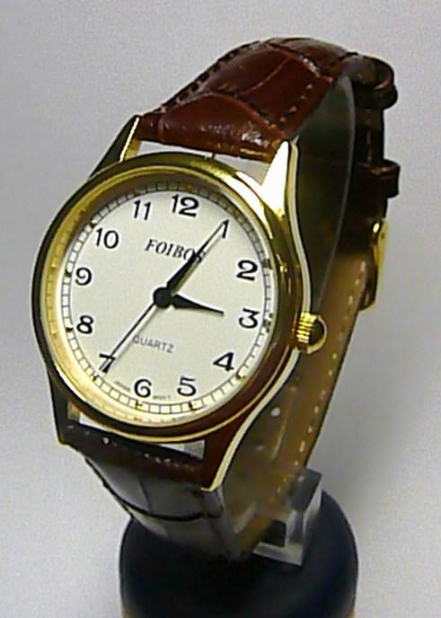 Dámské elegantní zlacené hodinky Foibos 445.3 na hnědém koženém pásku