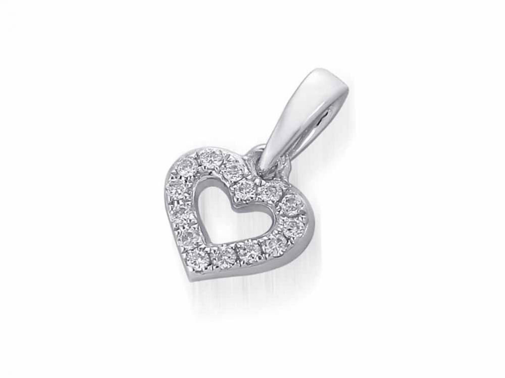 Přívěsk s diamantem, bílé zlato brilianty - diamantové srdce 3870622-0-0-99 (3870622-0-0-99)