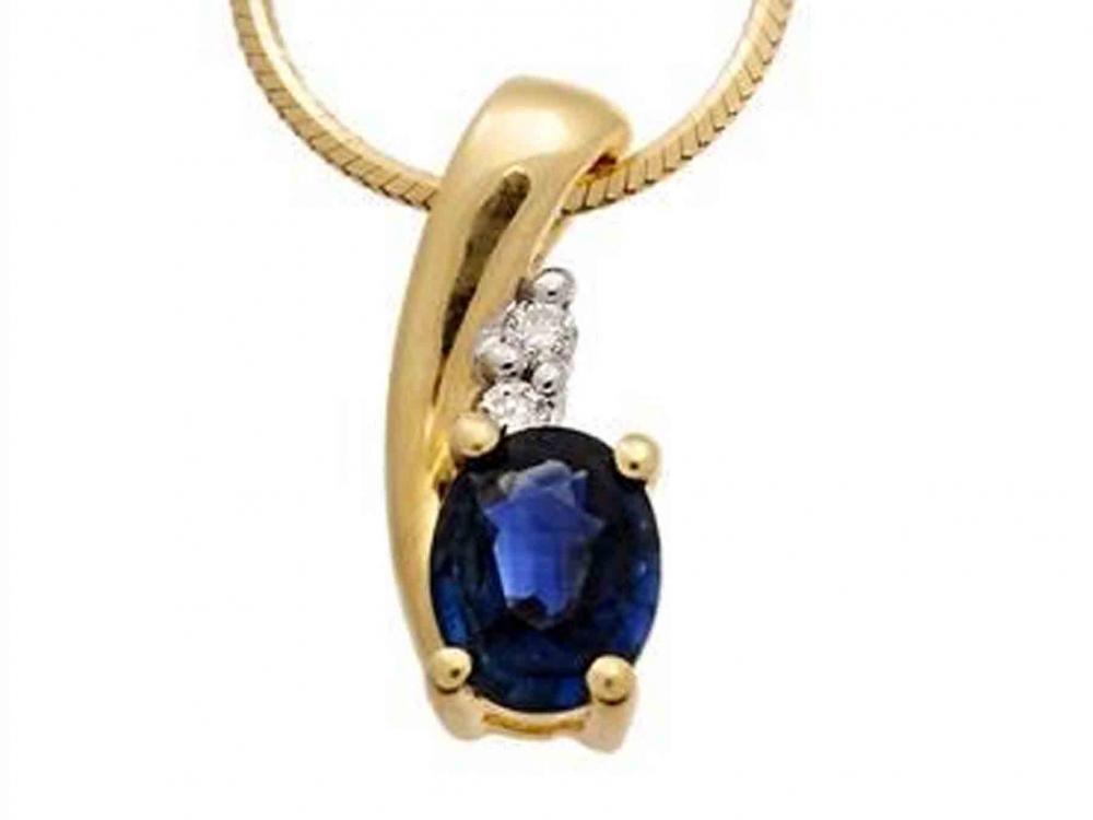 Safírový zlatý přívěsek v kombinaci zlata - velký safír 585/0,92gr 3820049-5-0-9 (3820049-5-0-92)