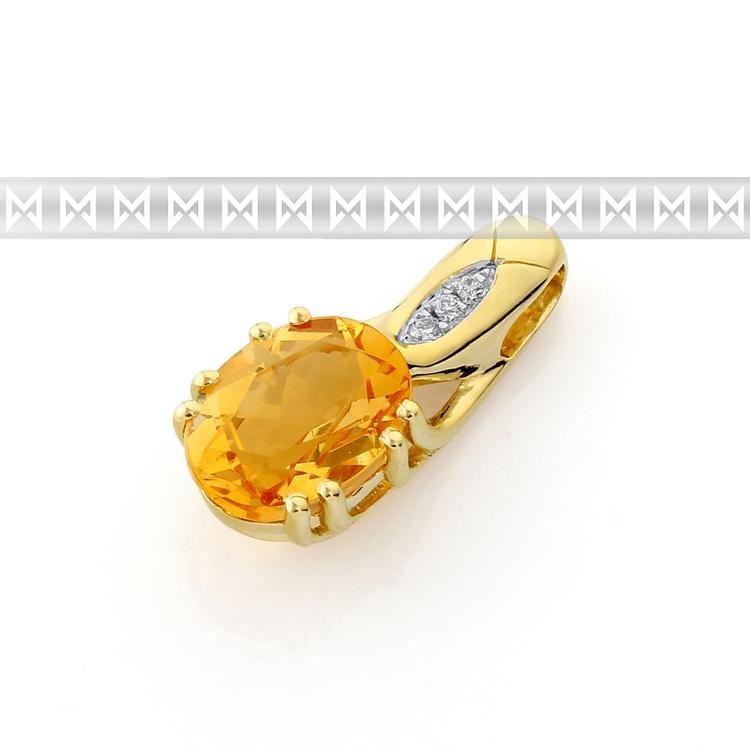 Diamantové zlatý přívěsek s citrínem ze žlutého zlata a diamanty 3820674-5-0-80 (3820674-5-0-80)