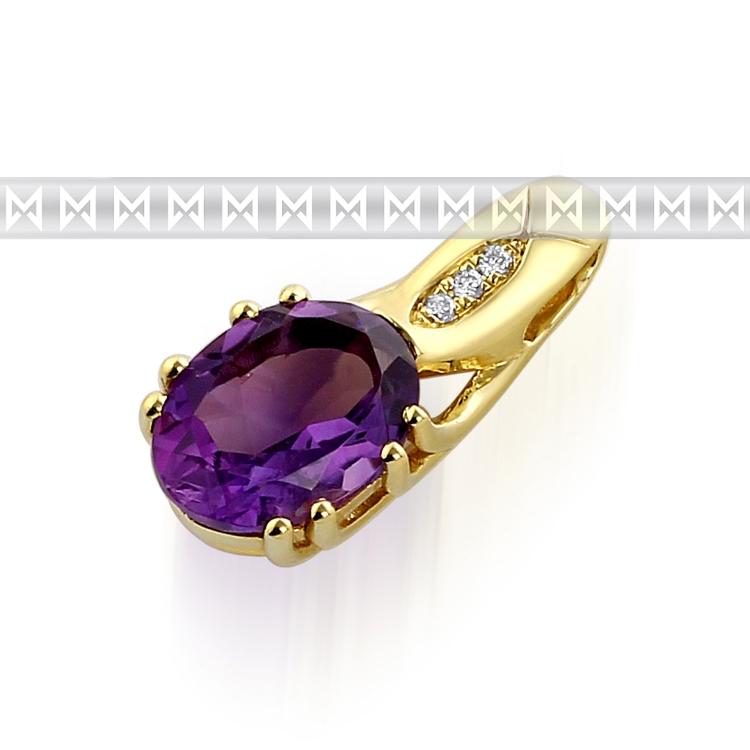 Zlatý diamantový přívěsek s fialovým ametystem a diamanty (3ks) 3820680-5-0-95 (3820680-5-0-95)