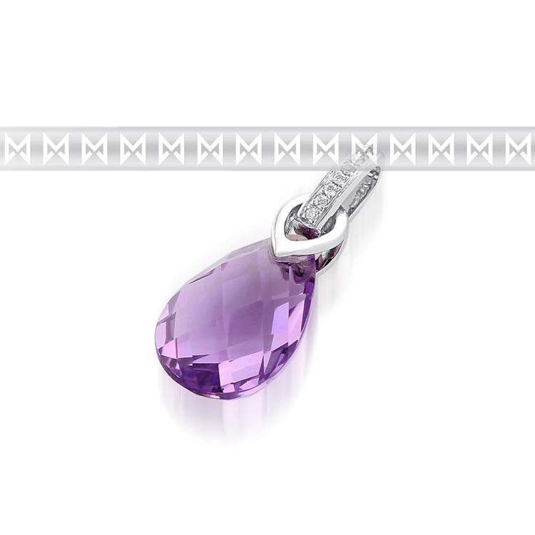 Přívěsek s diamantem, bílé zlato briliant, ametyst fialový 3870783-0-0-95 (3870783-0-0-95)