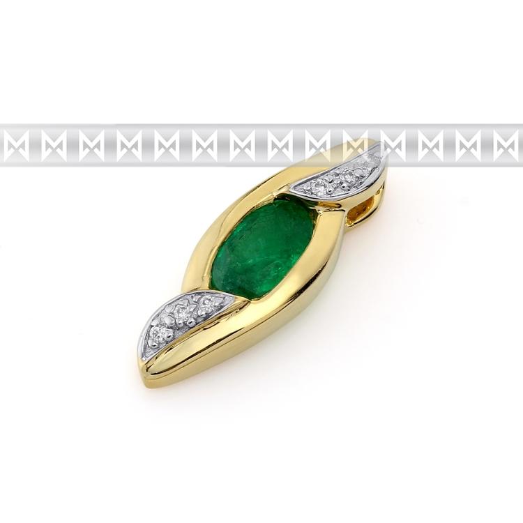 Přívěsk s diamantem, žluté zlato briliant, smaragd (emerald) s diamanty (3820687-5-0-96)
