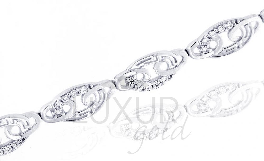 Luxusní ozdobný náhrdelník z bílého zlata se zirkonem 585/7,97 gr 18 cm (1490418-0-18-1)