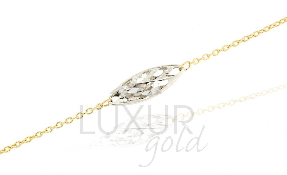 Luxusní dámský mohutný zlatý náramek z dvojího zlata 585/18cm 1440608-5-18-0 (1440608-5-18-0)