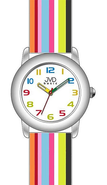 Dětské náramkové hodinky JVD basic W58.1 s duhovým páskem