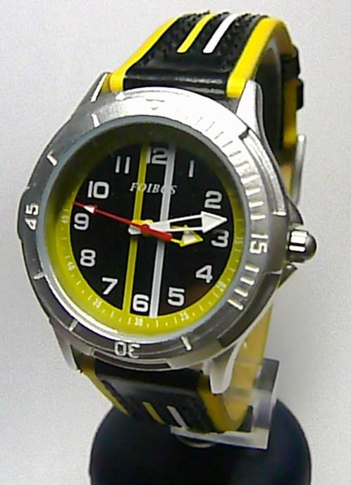 Chlapecké dětské sportovní žlutočerné moderní hodinky Foibos 2067