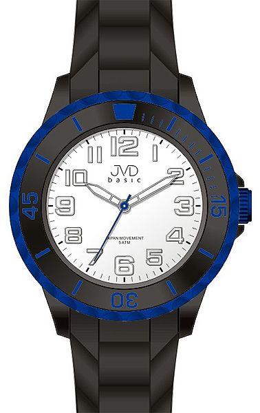 Dětské černo-modré chlapecké silikonové hodinky JVD basic J7133.2 - 5ATM