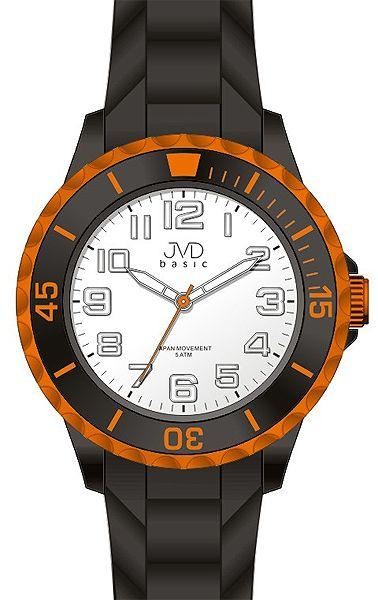 Dětské černo oranžové chlapecké silikonové hodinky JVD basic J7133.3 - 5ATM