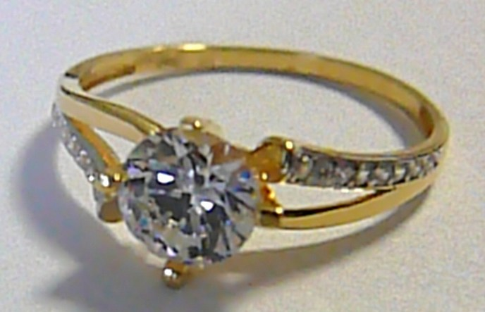 Zásnubní mohutný zlatý prsten s velkým zirkonem 585/1,75 gr vel. 58 P185 (1211096.5.58.01)