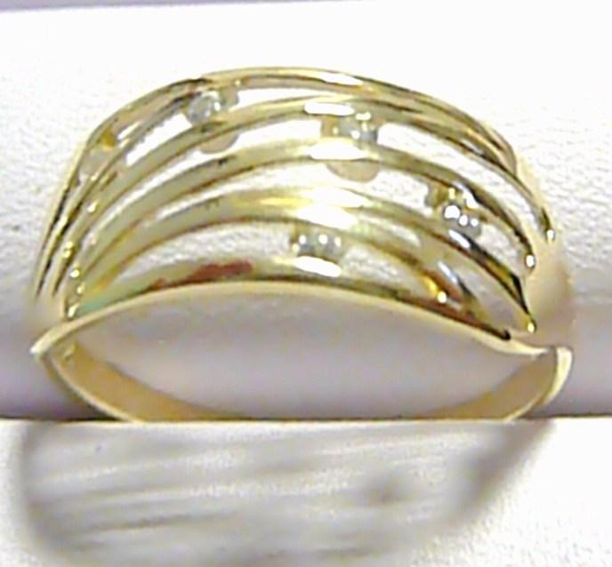 Celozlatý mohutný velký prsten se zirkony 5 ks 585/1,97 gr vel. 57 P186
