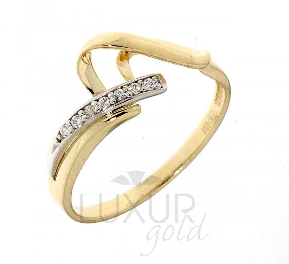 Luxusní velký zlatý prsten posetý zirkony z bílého a žlutého zlata 1110582-5-56- (1110582-5-56-1)