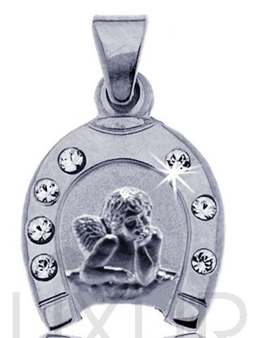 Zlatý přívěsek - zlatý andělíček v podkově pro štěstí se zirkony 585/0,9 gr ( 2370162-1-0-1)