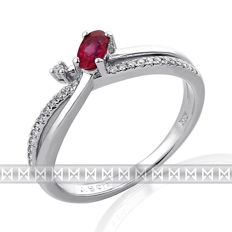 Zásnubní diamantový prsten s diamantem, bílé zlato briliant, rubín