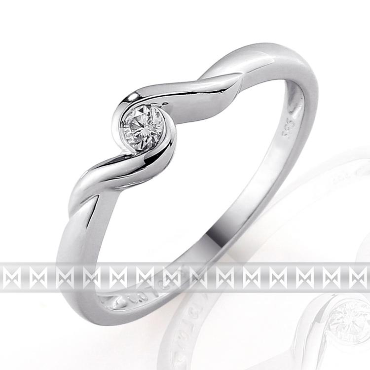Zásnubní dívčí diamantový prsten s bílým diamantem z bílého zlata 3860038-0-53- (3860038-0-53-99)