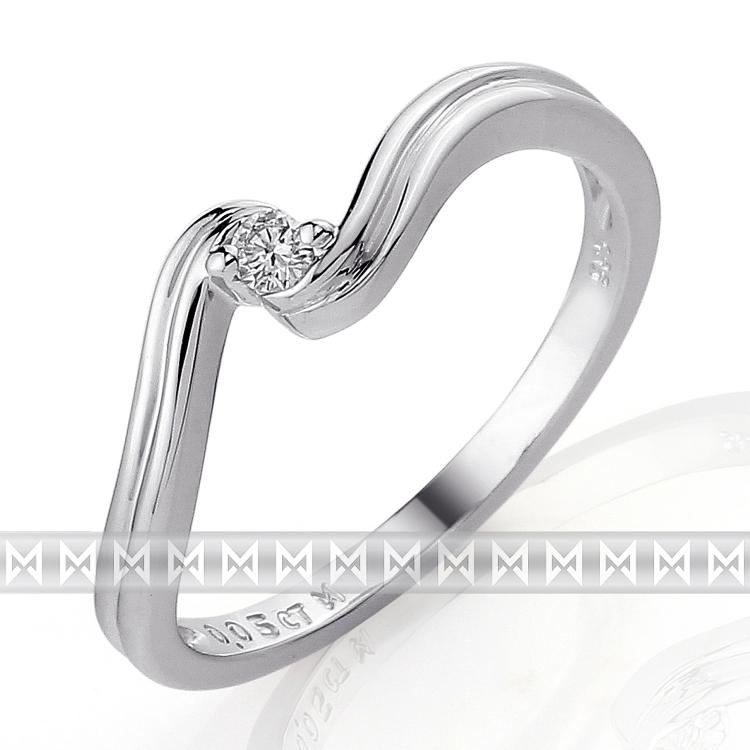 Zásnubní diamantový prsten s bílým diamantem z bílého zlata 3860089-0-51-99 (3860089-0-51-99)