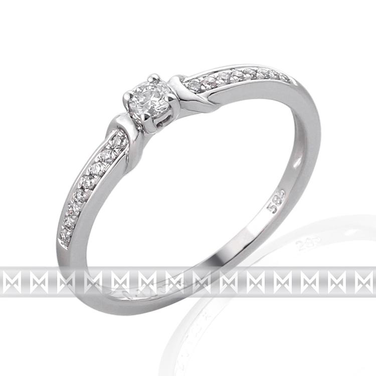 Zásnubní prsten s diamantem, bílé zlato brilianty 17ks 3860836-0-54-99 (3860836-0-54-99)