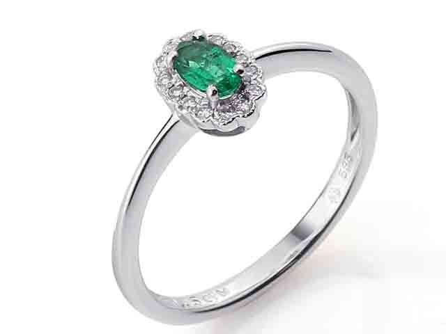 Luxusní diamantový prsten s diamanty a velkým zeleným smaragdem 3861084-0-53-96 (3861084-0-53-96)