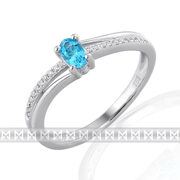 Luxusní diamantový zlatý prsten s modrým topazem (blue topaz) 3861133-0-54-93