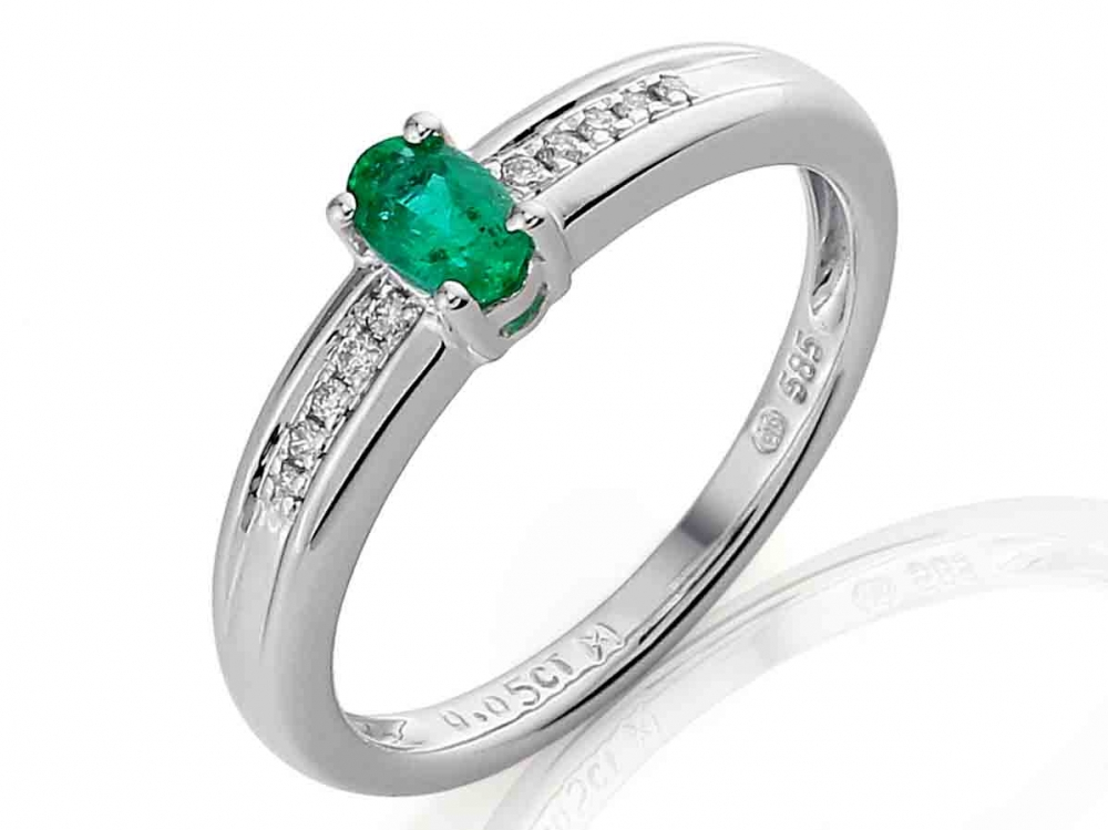 Prsten s diamanty z bílého zlata - zásnubní s velkým smaragdem 3861141-0-51-96