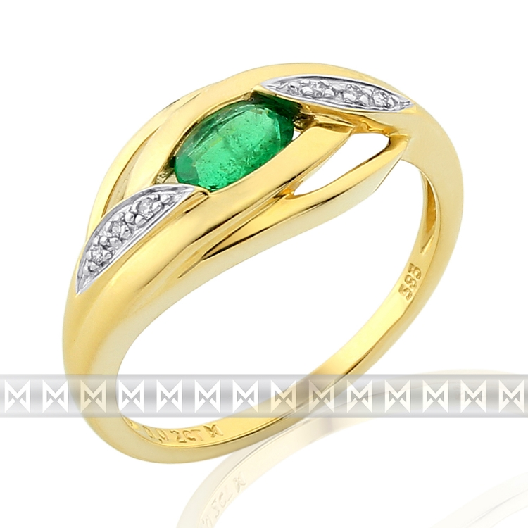 Prsten s diamantem, žluté zlato briliant, smaragd (emerald) a diamanty