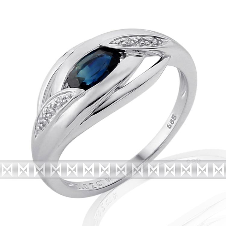 Prsten s diamantem, bílé zlato briliant, safír 3861918-0-54-92