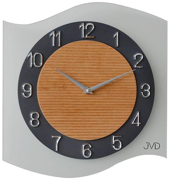 Skleněné moderní nástěnné hodiny JVD quartz N13042.1 VLNKA